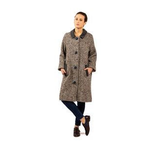 Ida pure wool coat with blue buttons • Unique piece