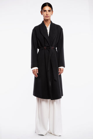 A cashmere mixed coat with belt. Reproducible on demand