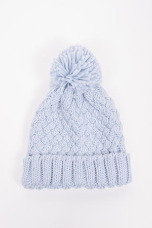 James Mae Winter Blue Pom Beanie