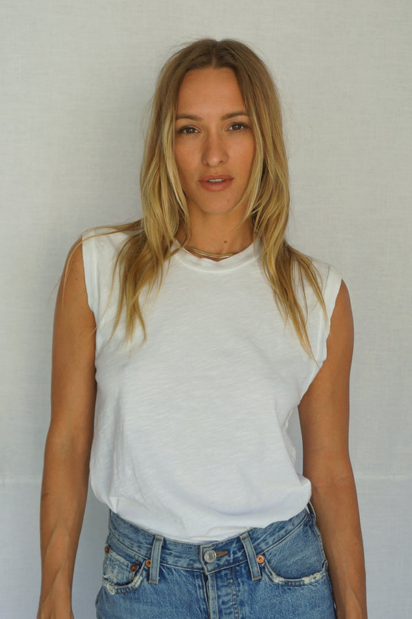 James Mae White Moto Tee