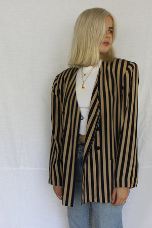 James Mae Vintage Striped Tailored Blazer