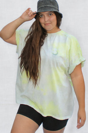 Pocket Emblem Tie Dye Oversized Tee