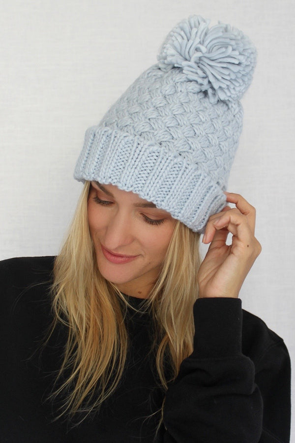Winter Blue Pom Beanie