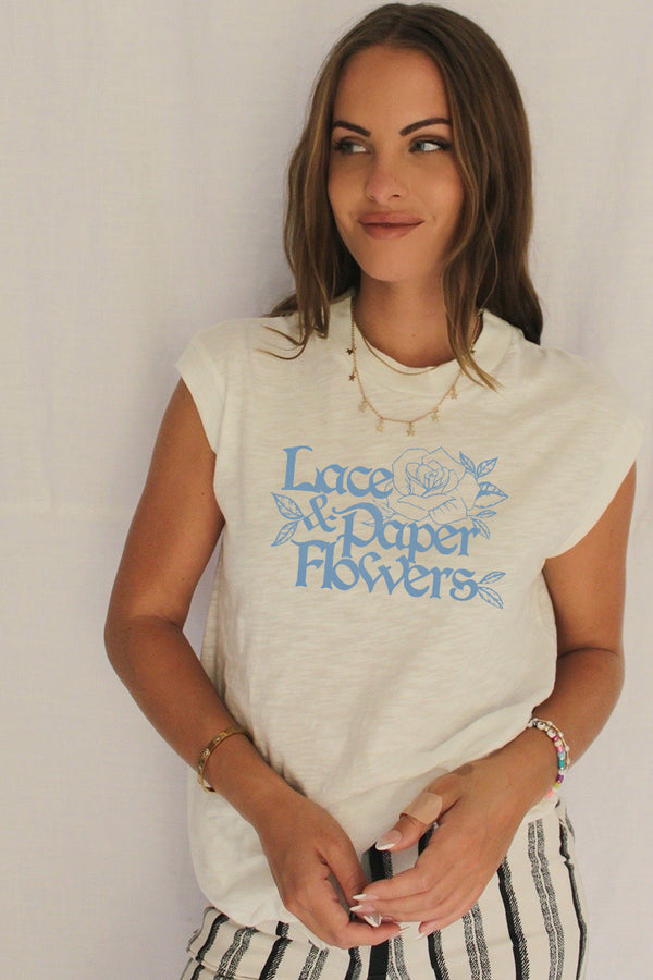 James Mae Lace & Paper Flowers Moto Tee