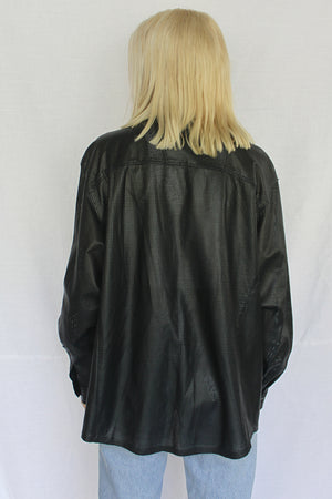 James Mae Vintage Leather Shacket
