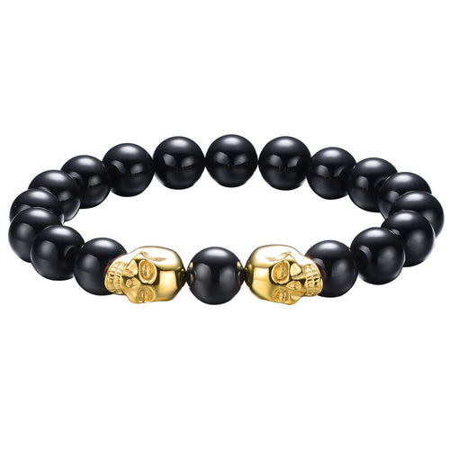 Twin Stainless Steel Skull Bracelet w/ 10mm Gemstones | Ships from USA