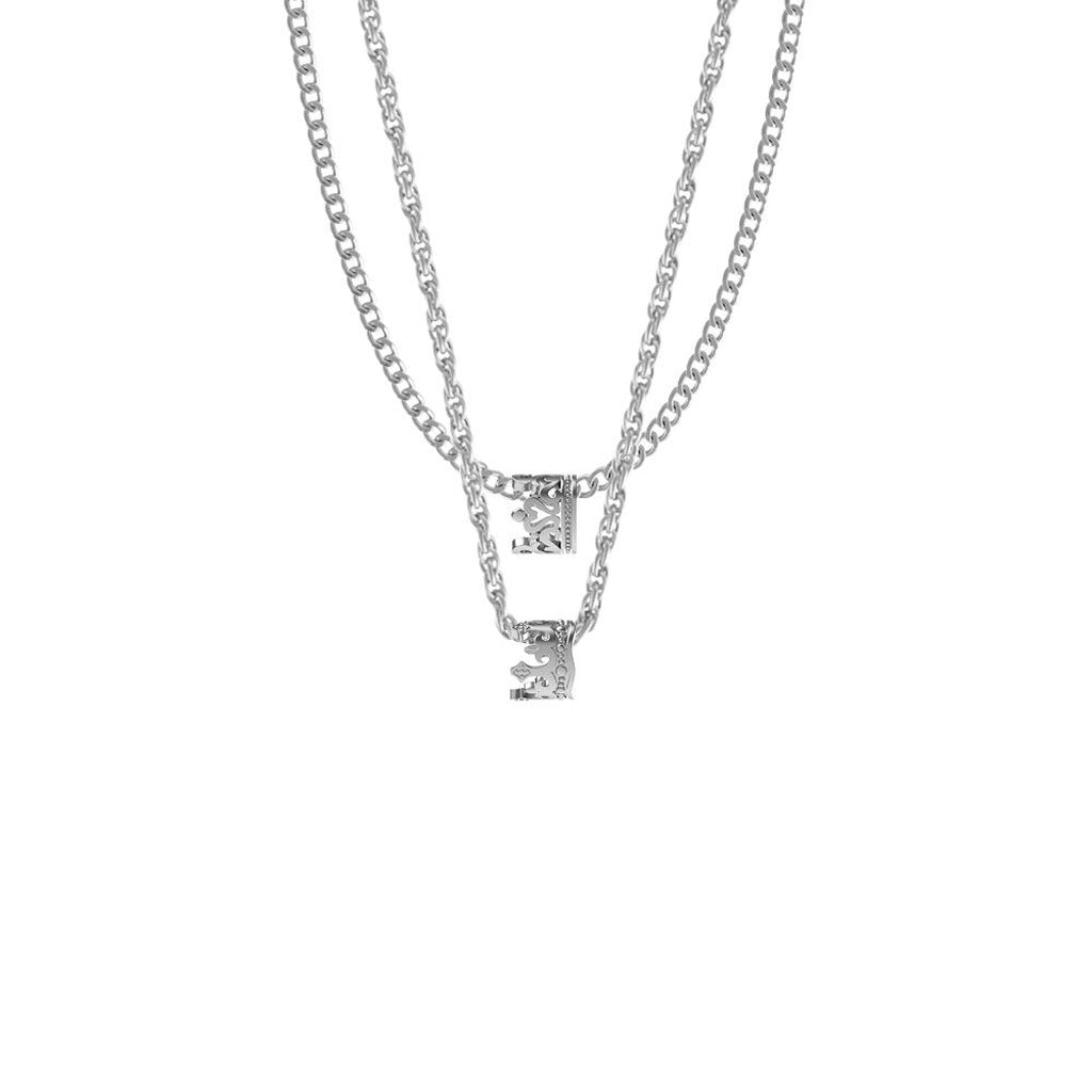 King & Queen Necklace w/ Two Chains & Two Crown Pendents