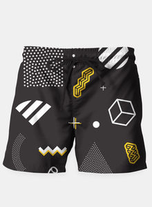 Dark Geometric Beach Shorts