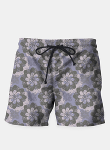 Gray Flower Beach Shorts
