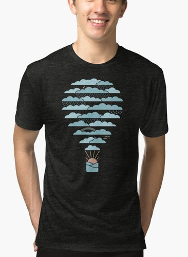 Weather Balloon Black Malange T-shirt