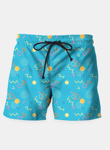 Memphis Retro Pattern Beach Shorts
