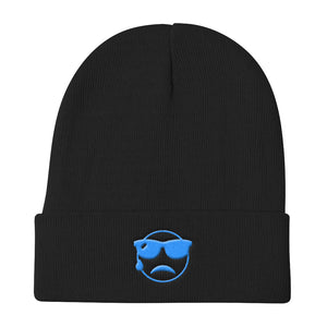 "Knit Beanie ""Sunglassed Crying Emoji"""