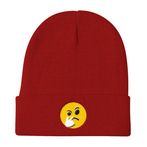 "Knit Beanie ""Questionable Emoji"""