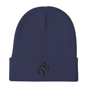 "Warm Knit ""HOP LEAF"" Beanie for Beer Lovers - 3D Embrodiery"