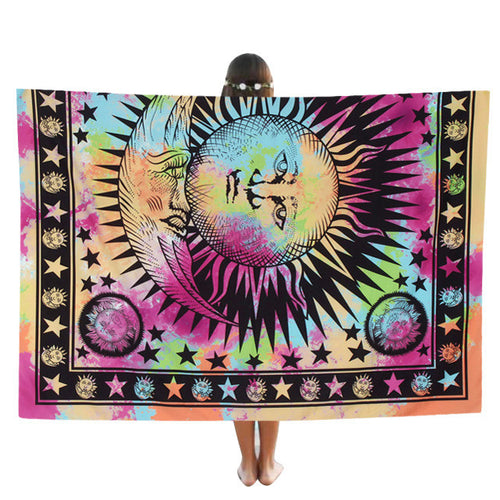 Double Moon & Star Tie Die Beach Cover Up | 100% Polyester