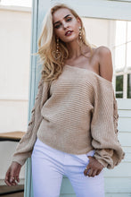 Sexy Loose Flat-Knitted Sweater w/ Long Sleeves
