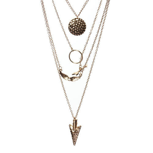 Women's Multilayer Arrowhead Crystal Gold Pendant Necklace