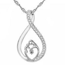 Silver Mosaic Zirconia Necklace w/ Gold Heart