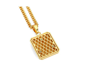 Gold Plated Cuban Chain w/ Rhinestone Covered Square Tag Pendant