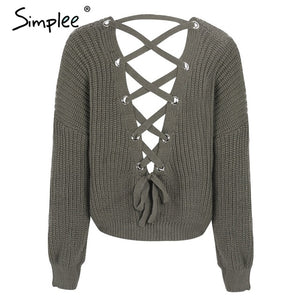 Simple Sexy Backless Lace Up Knitted Sweater