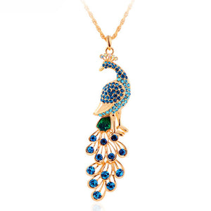 Gold Plated Peacock Pendant Necklace w/ Natural Gemstones