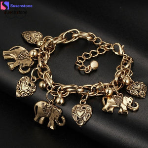 Trunk Up Elephant / Heart Pendant Bracelet