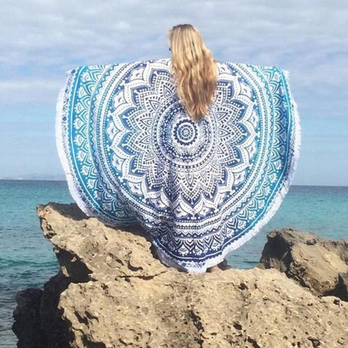 Beach Cover Up - Light & Dark Blue Intricate Geometric Design