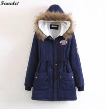 Parka Faux Fur Hooded Thick Long Sleeve Zipper Drawstring Women's Jacket
