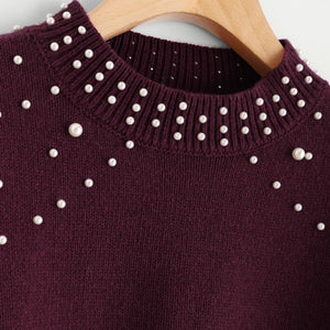 Burgundy Bishop Sleeve Pearl Beading Crop Sweater