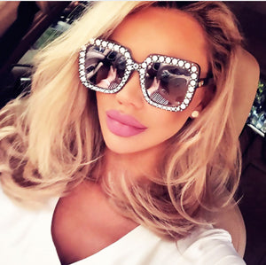 Rhinestone Inlay Oversized Square Sunglasses UV400