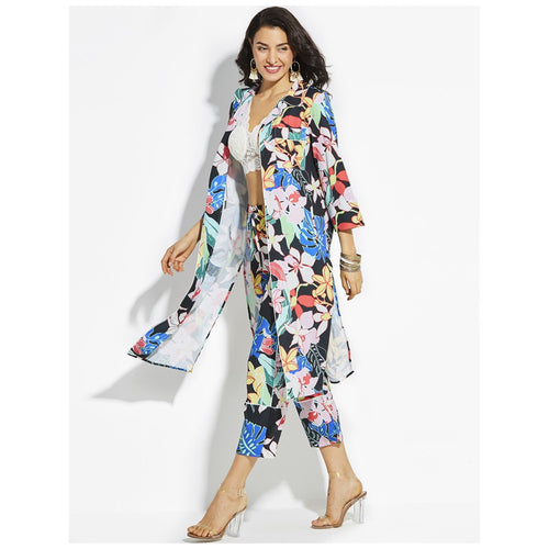 Floral Design Maxi Dress / Beach Cover Up | 100% Polyester (has stretch)