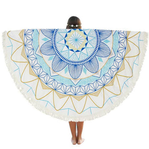 Beach Cover Up - White, Yellow & Blue Intricate Design