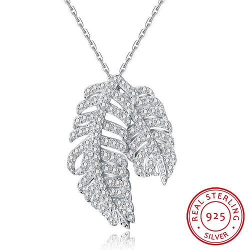 S925 Silver Double Leaf Necklace