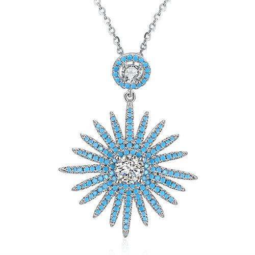 S925 Silver Sunflower Zirconia Necklace