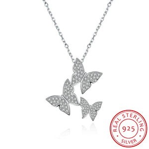 S925 Silver Three Butterflies Necklace