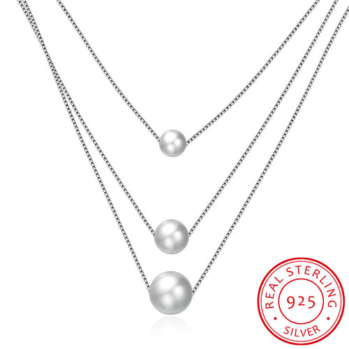 S925 Silver Three Pearl Necklace