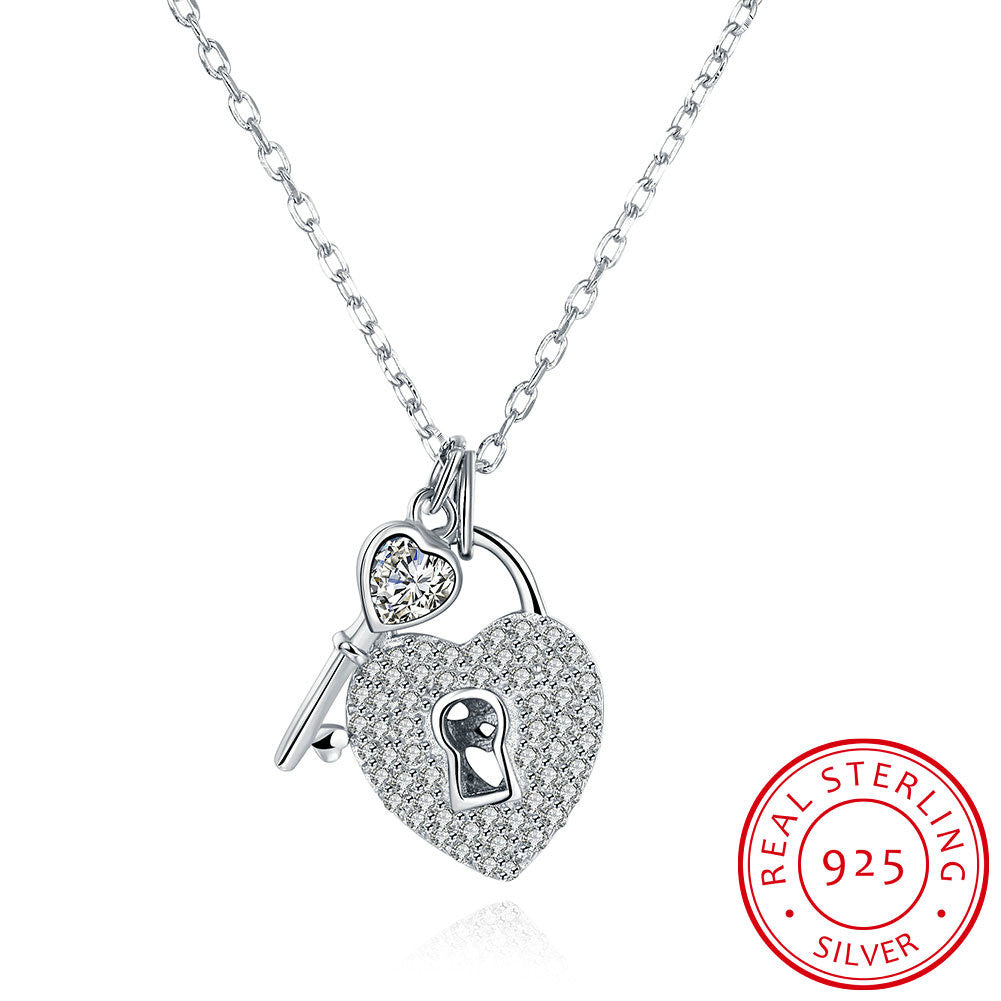 S925 Silver Necklace Lock Key & Heart Necklace