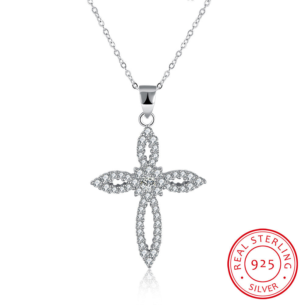 S925 Silver Flower-Shaped Cross Necklace