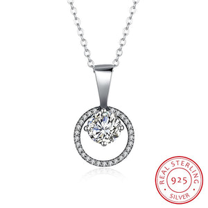 S925 Silver Round Stone Necklace