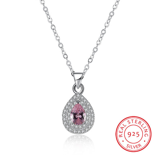 S925 Silver Water Drop Diamond Necklace