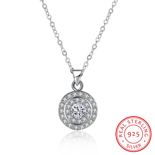 S925 Silver Three-Ring Stone Necklace