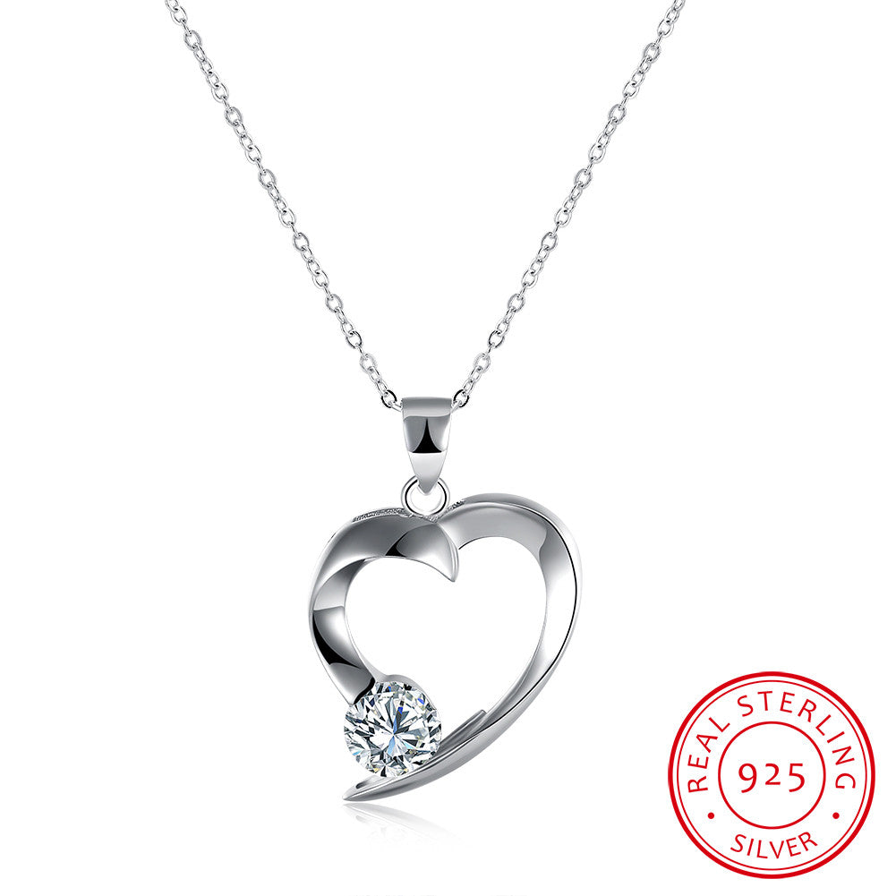 S925 Silver Heart Stone Inlay Necklace