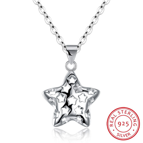 S925 Silver Fashionable Simple Stars Necklace