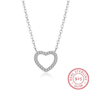S925 Silver Simple Heart-Shaped Stone Necklace