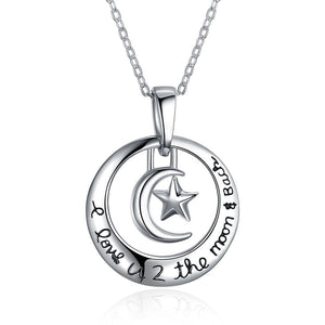 "S925 Silver Ring Necklace ""I love u 2 the moon & back"""