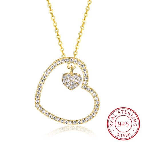 S925 Silver Gold Diamond Heart Pendant Necklace