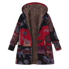 Long Sleeve Thick & Warm Coat Faux Fluffy Interior & Ethnic Printed Pockets