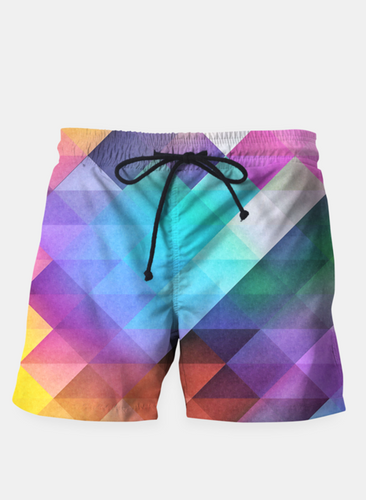 Diamond Patterned Colorful Beach Shorts