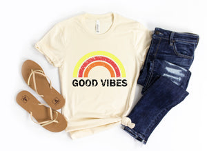 Good Vibes Distressed Tee Shirt