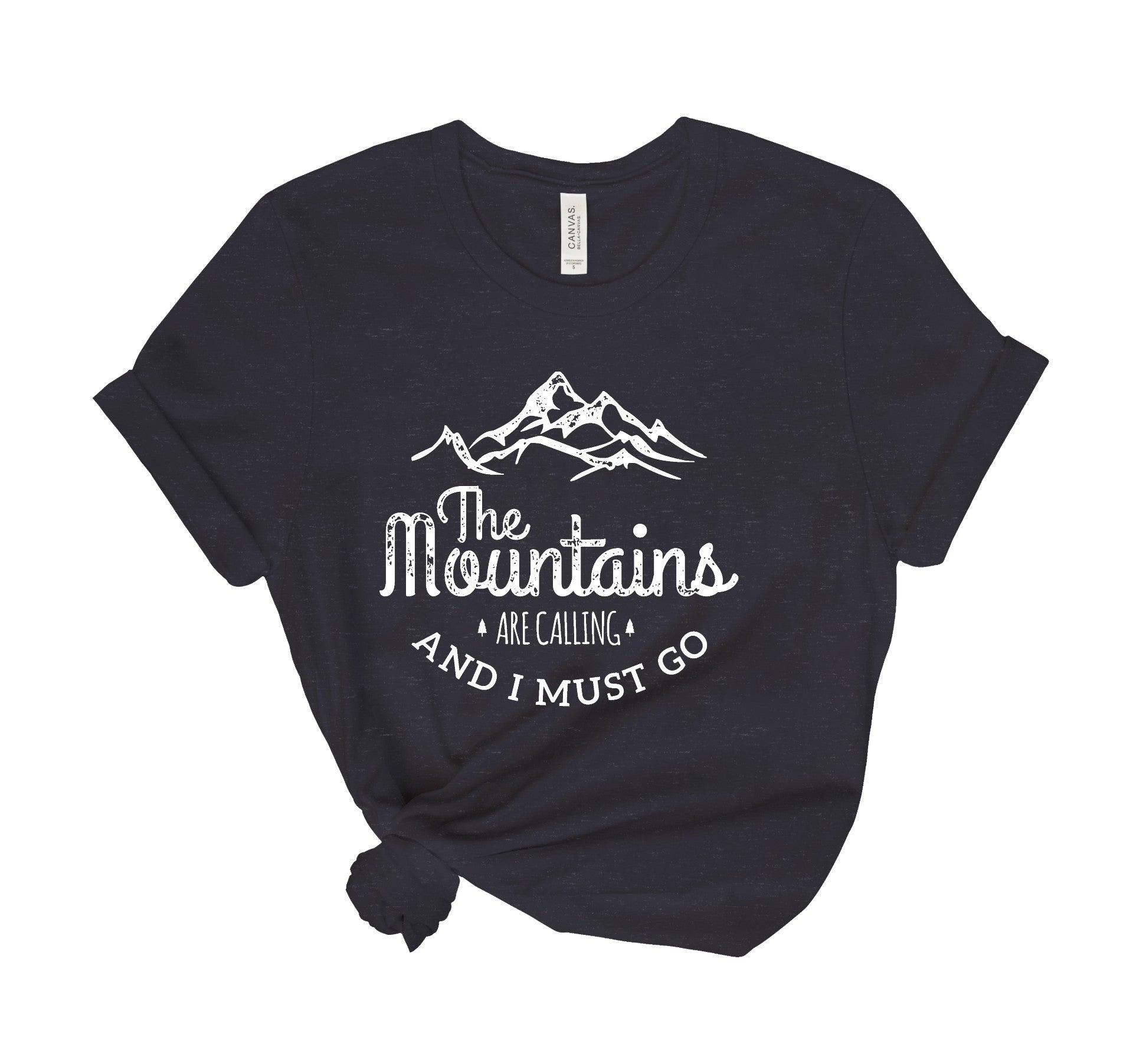 The Mountains Are Calling Heathered Tee Shirt